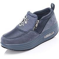 Zapatillas de cuña para Mujer Zapatillas de Deporte de caña Baja Informales Impermeables Que absorben los Golpes al Aire…