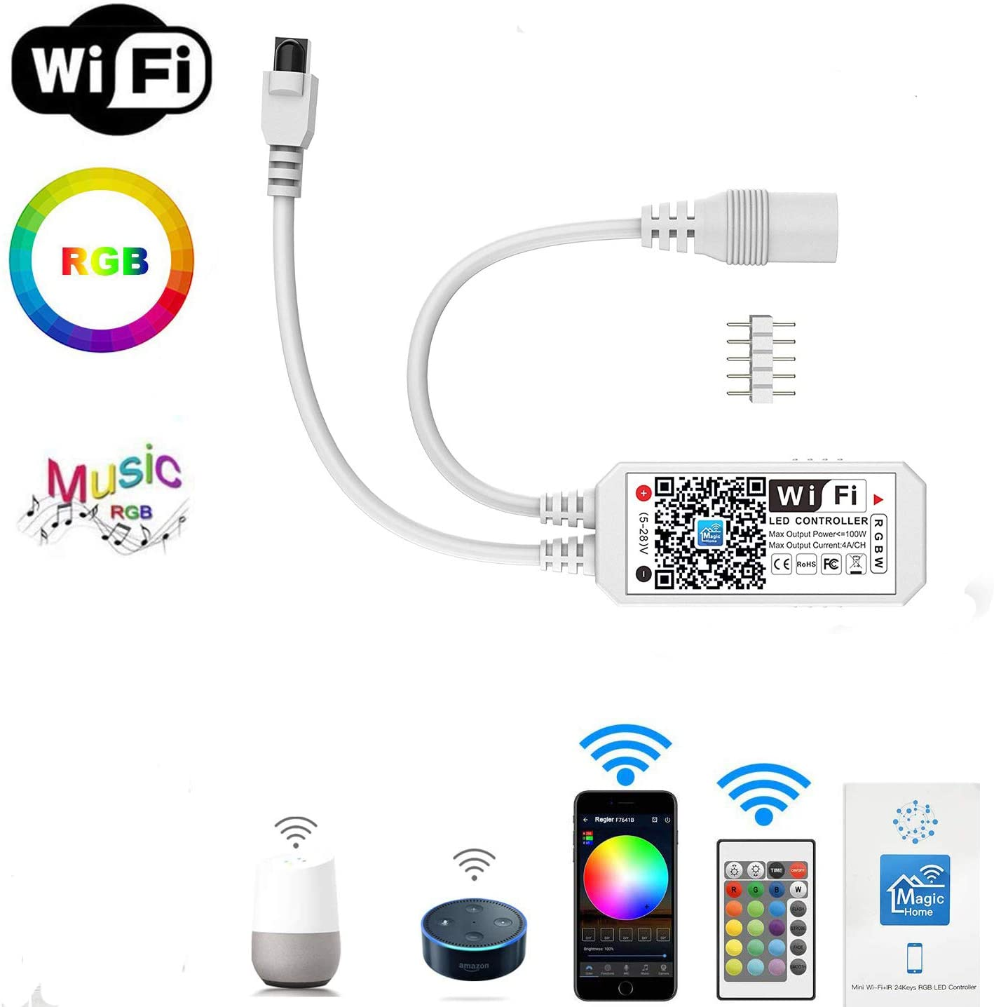 Led Strip Lights Controller WiFi Wireless LED Smart Controller Compatible with Alexa Google Home IFTTT, Working with Android,iOS System, GRB, BGR, RGB LED Strip Lights DC 12V 24V