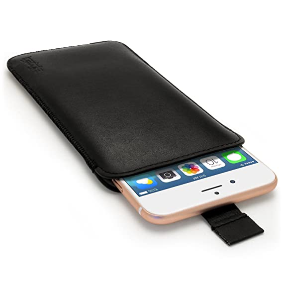 new arrival b13c6 2966f iGadgitz Premium Black Leather Pouch Sleeve Case Cover for Apple iPhone 6  6S 7 7S Plus 5.5