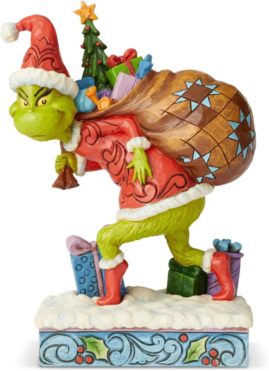 Enesco Dr. Seuss The Grinch by Jim Shore Tip Toeing Figurine, 7.68 Inch, Multicolor