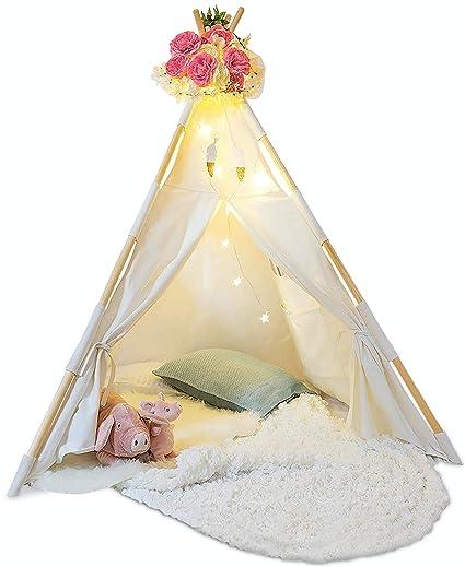 Amazon.com Kids Teepee Tent for Kids - With Fairy Lights - Feathers u0026 Waterproof Base Sports u0026 Outdoors  sc 1 st  Amazon.com & Amazon.com: Kids Teepee Tent for Kids - With Fairy Lights - Feathers ...