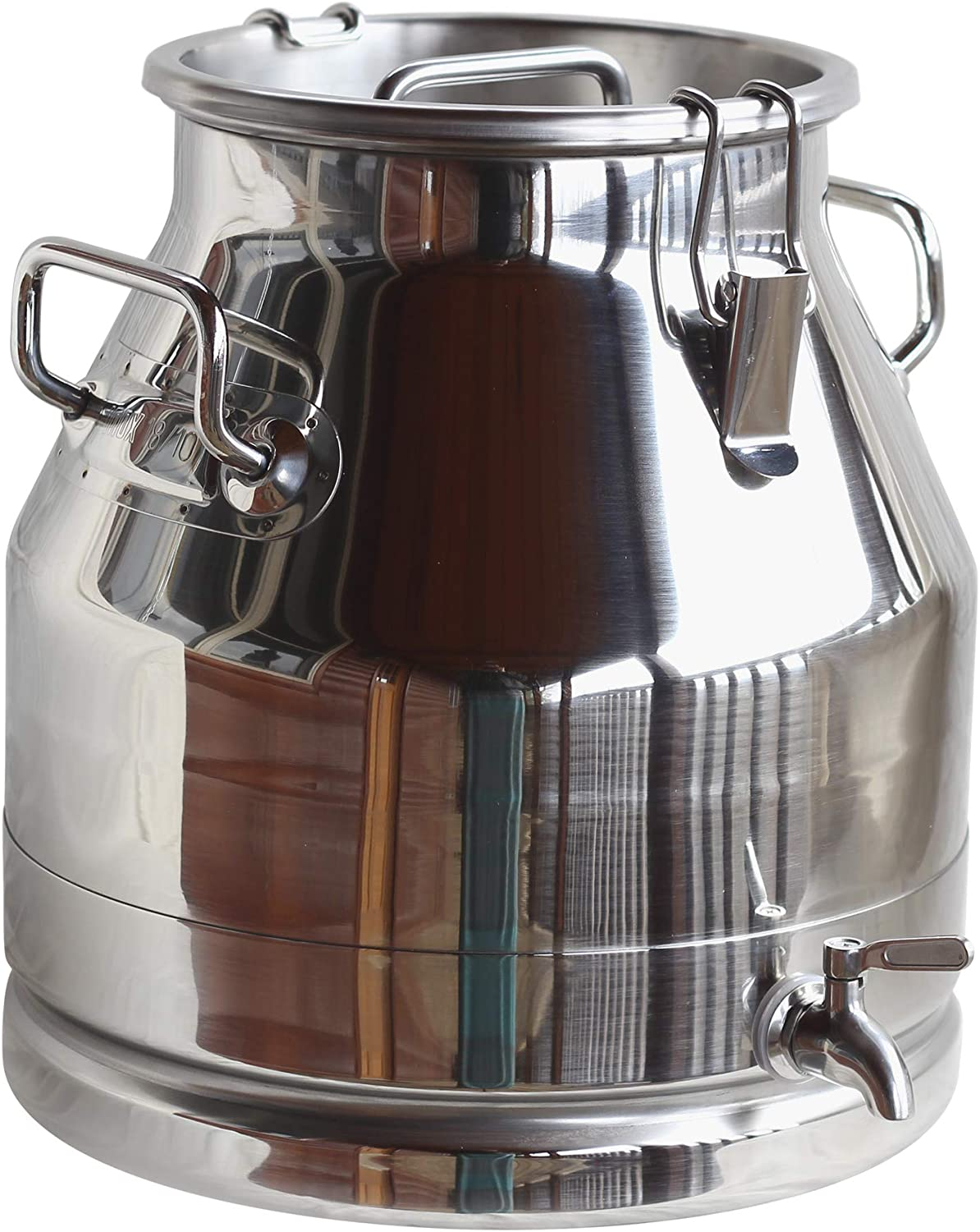 Stainless Steel Milk Transport Cans with Strong, Sealed Lid and Spigot Option (5 Gallon, with Spigot))