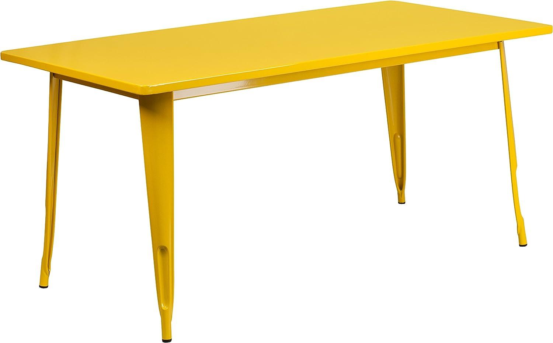 Flash Furniture 31.5 x 63 Rectangular Green Metal Indoor-Outdoor Table