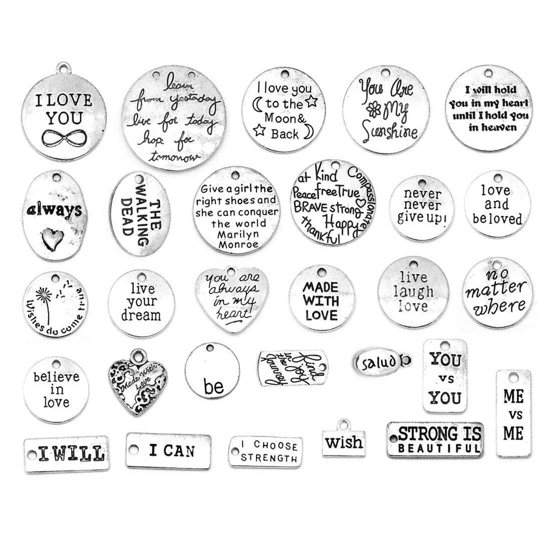Motivational Charms, JIALEEY Wholesale Bulk Lots Inspirational Message Charm Pendants for Crafting, Jewelry Findings Making Accessory for DIY Necklace Bracelet, 30PCS