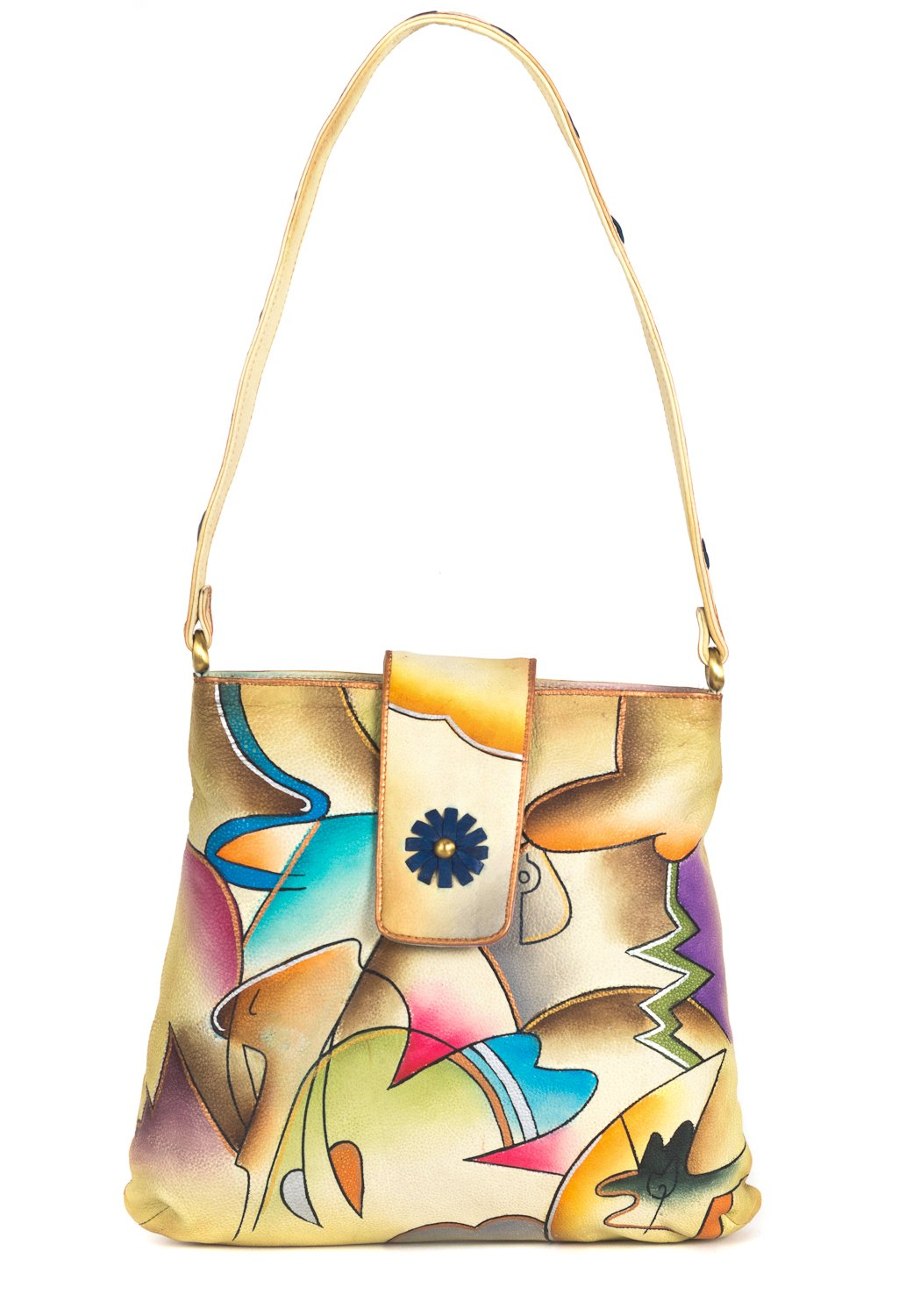 ZIMBELMANN NELLY Genuine Nappa Leather Hand-painted Hobo Shoulder Bag Purse by Zimbelmann
