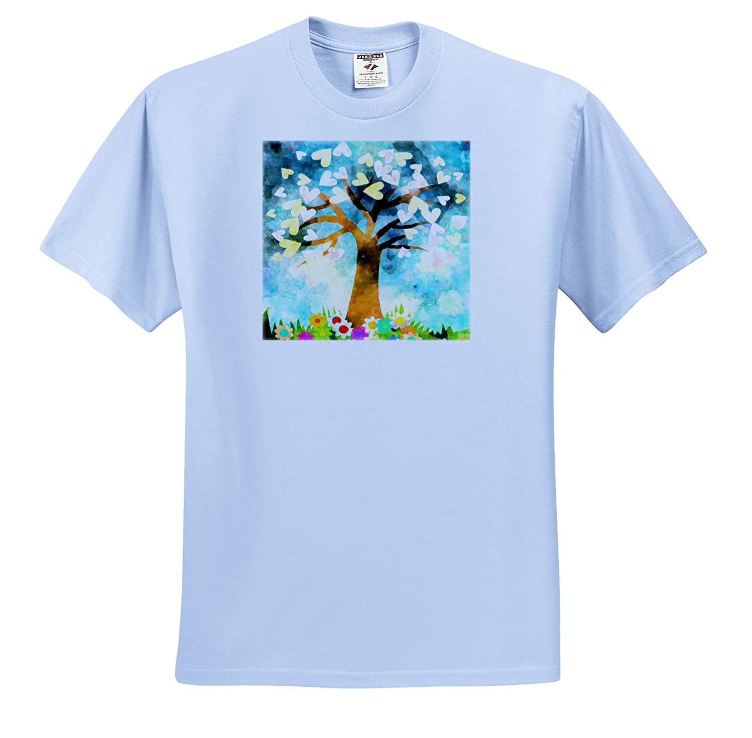 3dRose Lens Art by Florene T-Shirts Image of Painted Fantasy Tree with Hearts and Flowers Fall Art