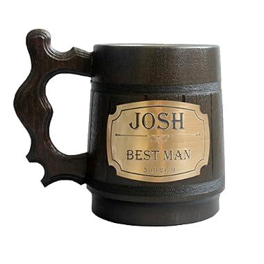 Personalized Wooden Beer Mug Eco-Friendly 20oz 0.6L Stainless Steel Cup Men Brown Wood Tankard Wedding Gift Beer Mug