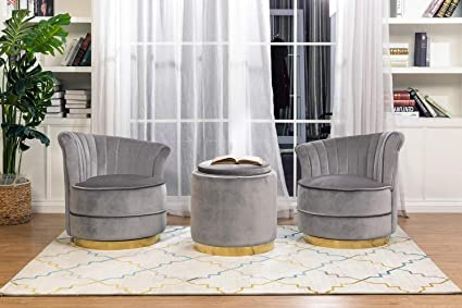 Brilliant Homefun Swivel Glider Club Chairs Sofa Set With End Table Ottoman Silvery Grey Velvet Gold Base Pabps2019 Chair Design Images Pabps2019Com