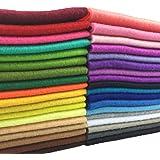 flic-flac 36pcs 1.4mm Thick Soft Felt Fabric Sheet Assorted Color Felt Pack DIY Craft Sewing Squares Nonwoven Patchwork (20cm 20cm)