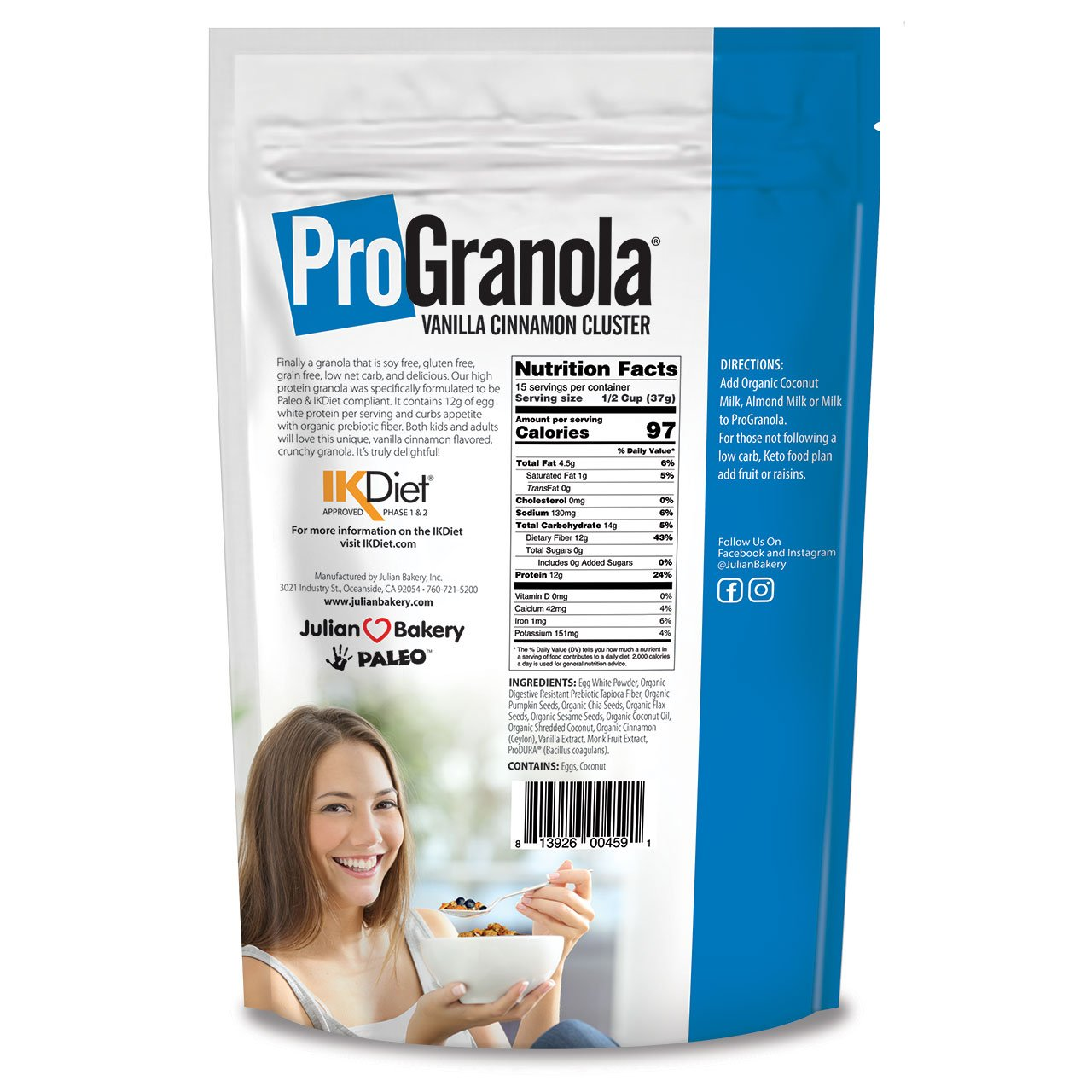 ProGranola 12g Protein Cereal Vanilla Cinn (Paleo : Low Net Carb : Gluten Free : Grain Free) (6 Pack) by Julian Bakery (Image #4)