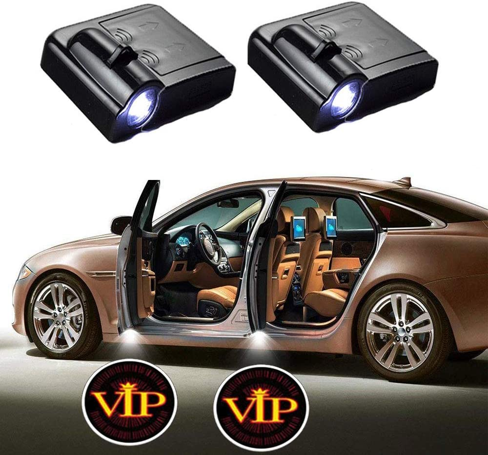 MIVISO 2 PCS Most Car Logo Wireless Led Car Door Light Welcome Projector Courtesy Puddle Ghost Shadow LED Lights Emblem(Non-custom logo)