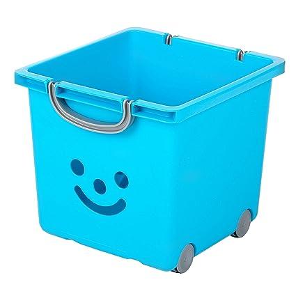 Iris 100648.0 Smiley Caja para niños con ruedas y banda, 25 litros, verde/