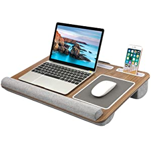 HUANUO Lap Desk - Fits up to 17 inches Laptop, Built in Wrist Pad for Notebook, Tablet, Laptop Stand with Tablet, Pen & Phone Holder (Dark Brown Woodgrain)