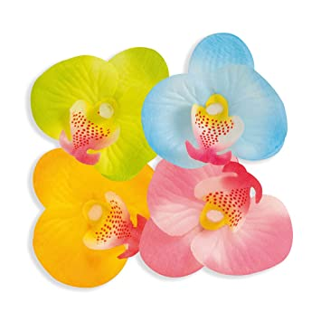 Amakando Orchideenbluten Hawaii Party Streublumen Rosa Hibiskus