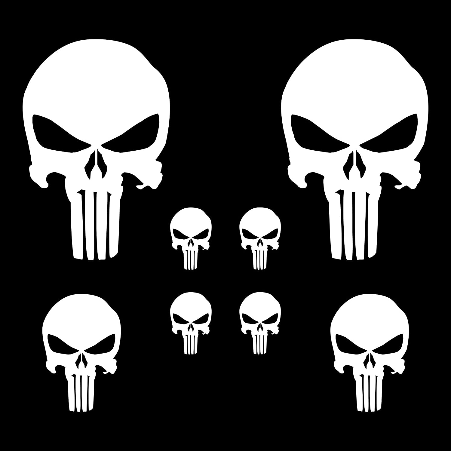 Autodomy Punisher Skull Sticker Pack Of 8 For Car Or Motorcycle White Auto