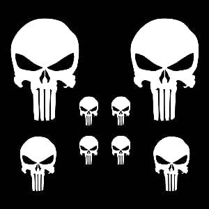 Autodomy Pegatinas Punisher Calavera Pack 8 Unidades para Coche o ...