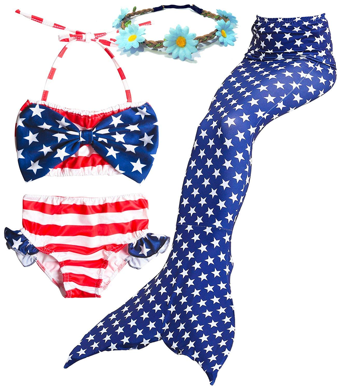 91e53ce401aca Galleon - 4PCs Girls Mermaid Tails Swimsuits American Flag Sea-Maid  Princess Bikini Set