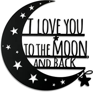 Ripeng I Love You to The Moon and Back Wall Art Moon Metal Wall Decorations Hanging Wall Plaque Sign with Love Quote Monogrammed Home Decor for Anniversary Valentine's Day (Black,7.2 Inch)