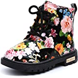 UBEY Toddler Leather Boots Flower Printed Rubber Sole Girls Boots