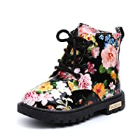 UBEY Toddler Leather Boots Flower Printed Rubber Sole Boots