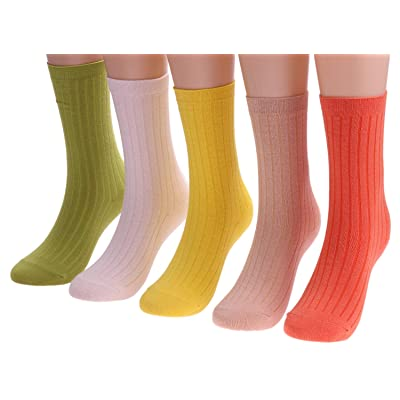 5 Pairs Women's Knit Cotton Lightweight Socks Colorful Casual Crew Socks, Size 5-10 W75 (mixed color1) at Amazon Women's Clothing store