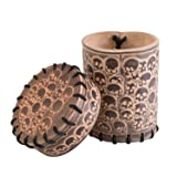 Q WORKSHOP Skull Beige Leather Dice Cup
