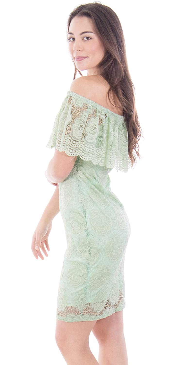 Mesmer Made In USA Rose Lace Off-Shoulder Bodycon Minidress