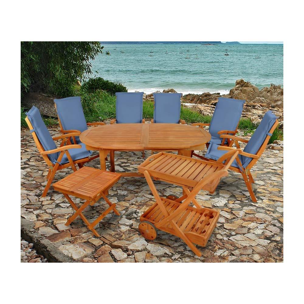 Indoba XL Premium Gartenmöbel Set 15-teilig ! Gartenset inkl, Auflagen blau - Tisch Gartenstühle Servierwagen Beistelltisch Gartenmöbelset