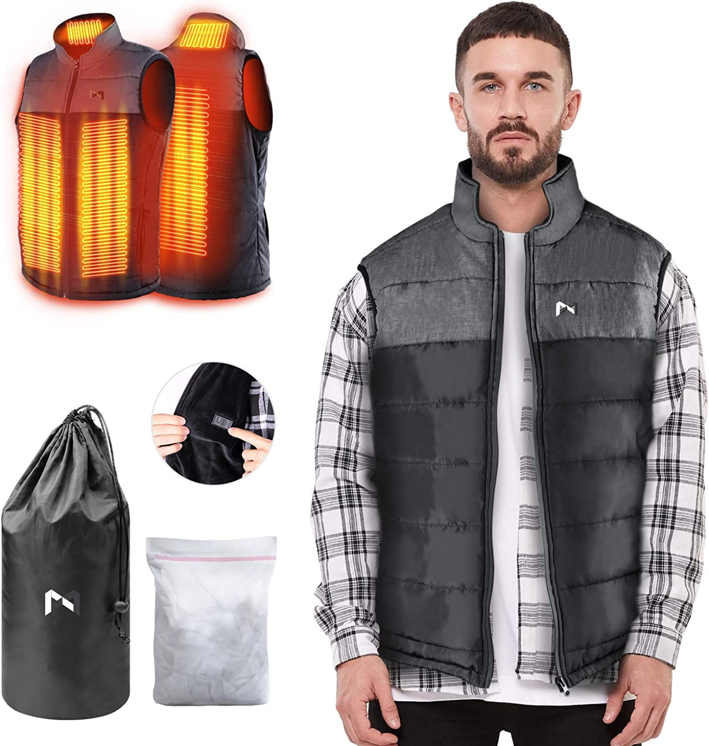 Waterproof and Windproof in Winter DFANCE Hooded Heated Vest Men Women with 9 Heating Zones Instant Warmth Heated Jacket with 3 Heating Levels USB Electric Heated Gilet
