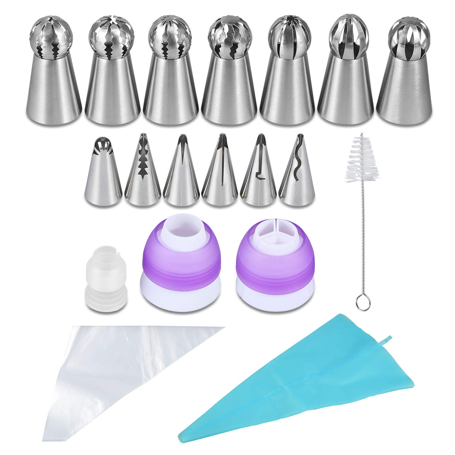 YUJUE 38 pcs ,Russian Piping Tips Set,Icing Tips Cake Decoration Tips, 7 NEW Russian Ball Tips, 6 Russian Piping Nozzles, 3 Couplers, 1 Silicone Bag,1 Brush and 20 Disposable Pastry Bags