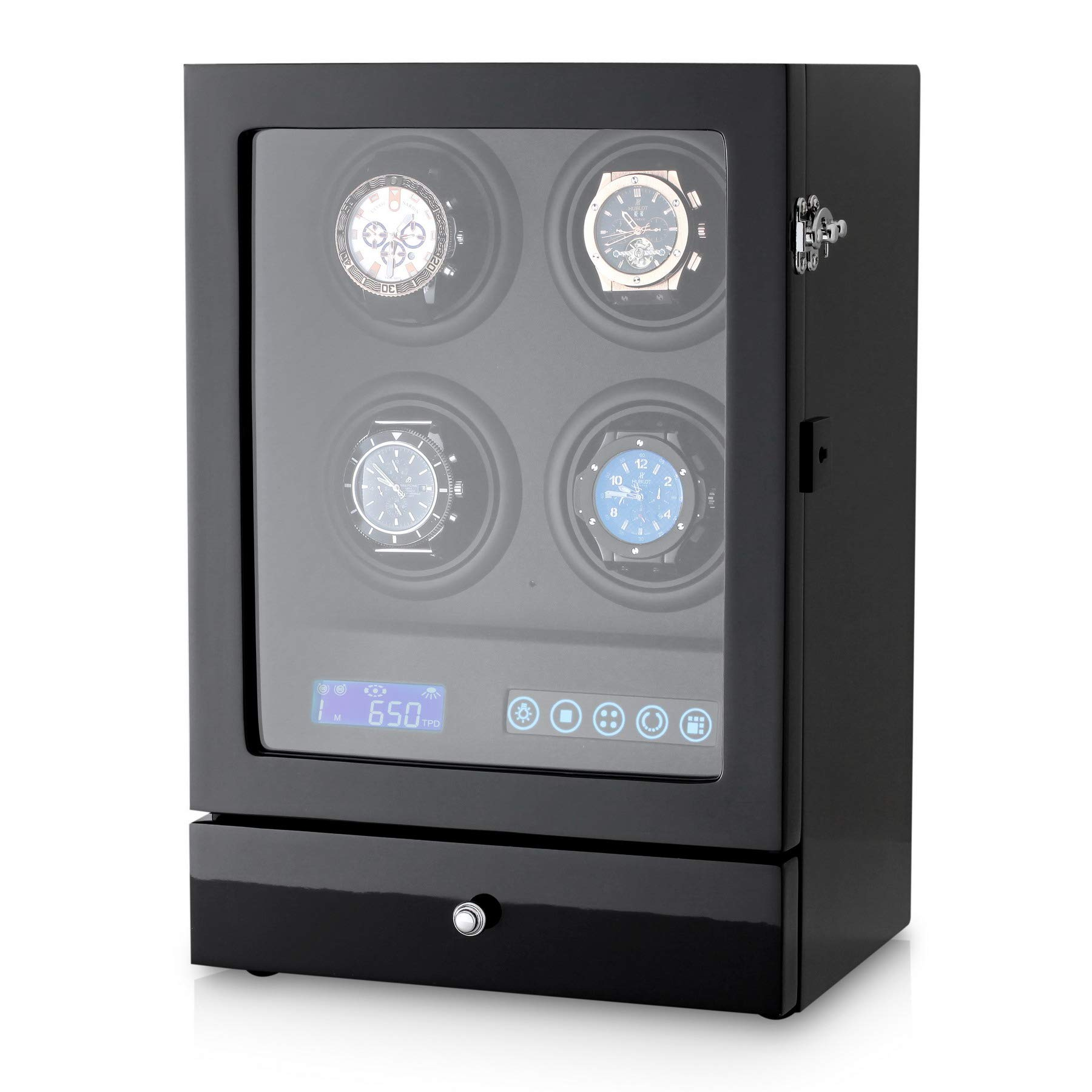 Automatic Watch Winder Box with Watches and Jewellery Storage Drawer, LED Backlight and LCD Touchscreen Control (Black + Black)