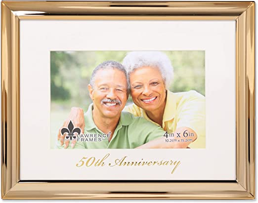 50th Anniversary Gold Wording White Porcelain Decorative 4x6 Picture Frame