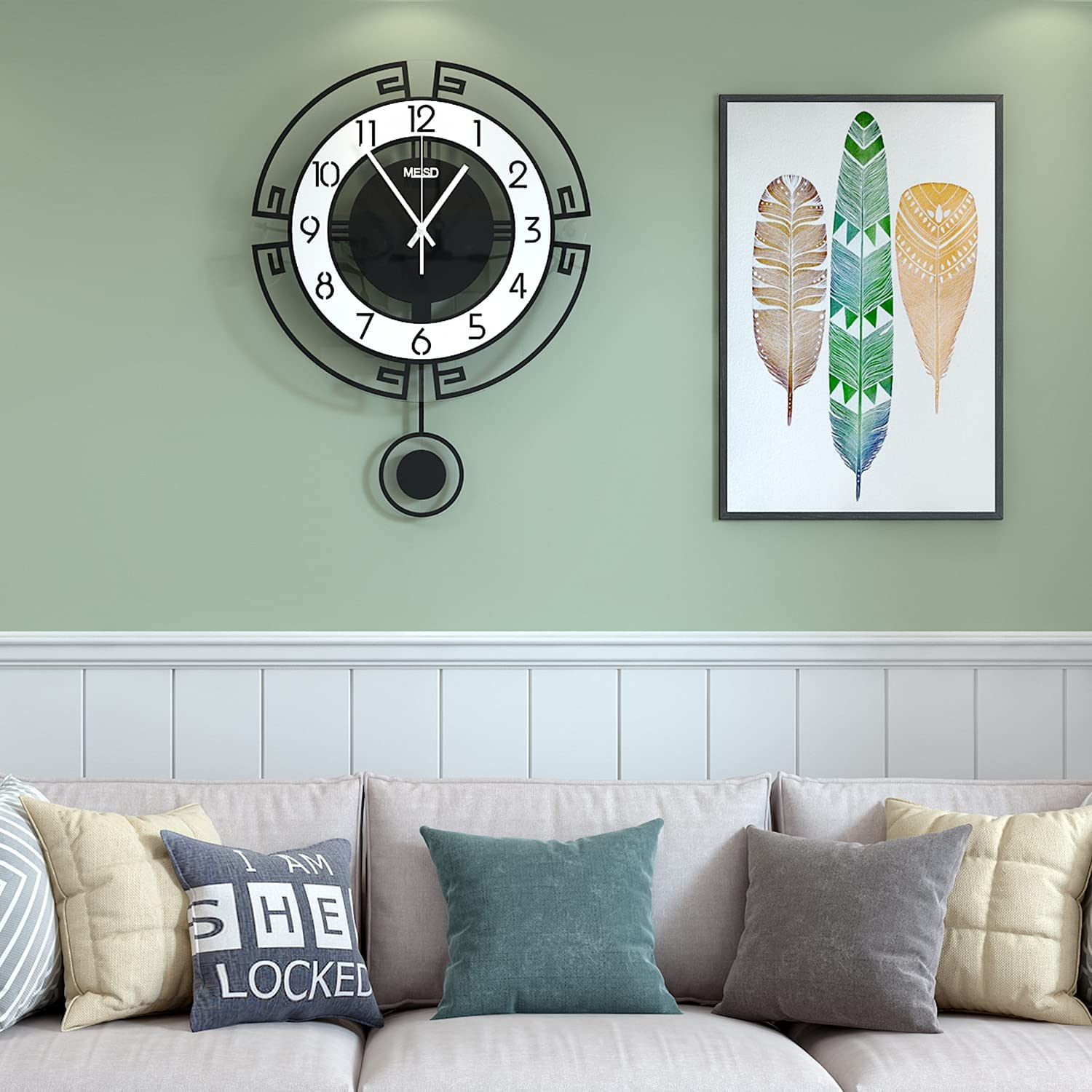 MEISD Modern Wall Clock for Living Room Decor,Decorative Wall Clocks Battery Operated with Pendulum for Kitchen Office Bedroom, 11 Inch Small Wall Clock, Silent Wall Clock Non Ticking, Analog Display