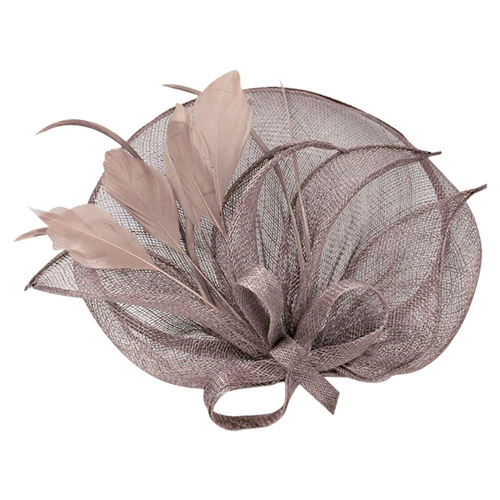 ACTLATI Cambric Netting Hair Clip Mesh Net Headband Charming Feather Headpiece Fascinator Hat Nude Pink
