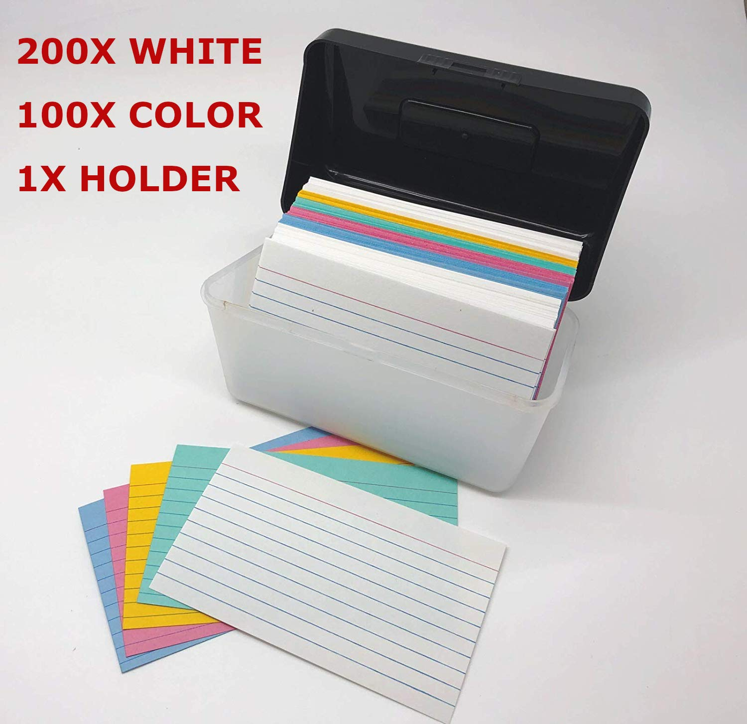 GiftExpress 3x5 inch Index Card Holder Plus 3X5 inch Ruled Index Card: 200 White Cards, 100 Neon Assorted Colors Cards, Great for Office Home School Notes, Learning Flash Cards, Lists, Recipes ECT.