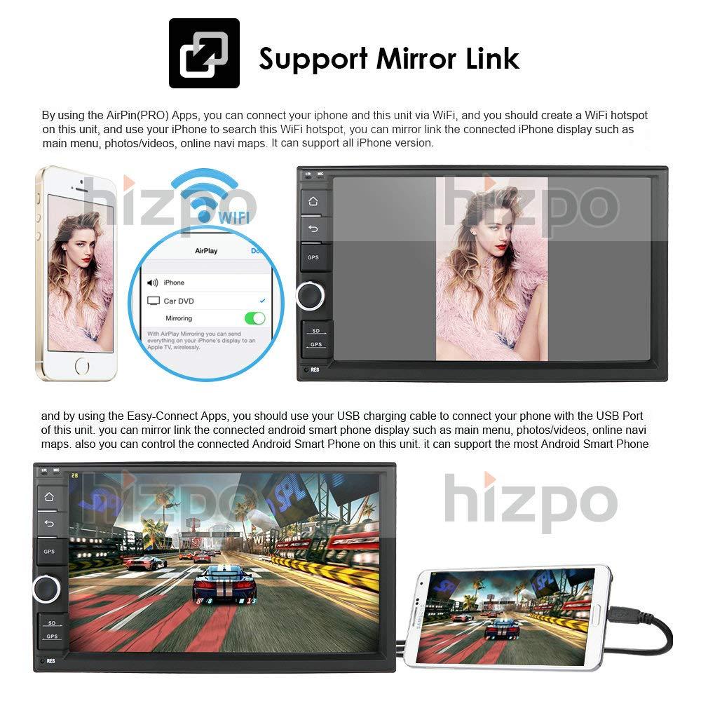 hizpo Android 9.0 Autoradio Universale Lettore Multimediale da 7 Pollici 64 GB 4 GB Navigazione GPS per auto Bluetooth Wifi Hotspot DAB Subwoofer USB SD