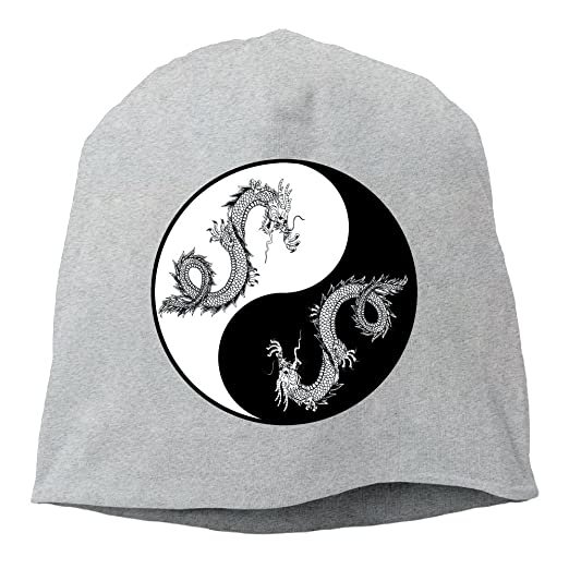 Yin Yang Symbol Dragon Vector ,Women/Men Wool Hat Soft Stretch Beanies Skull Cap