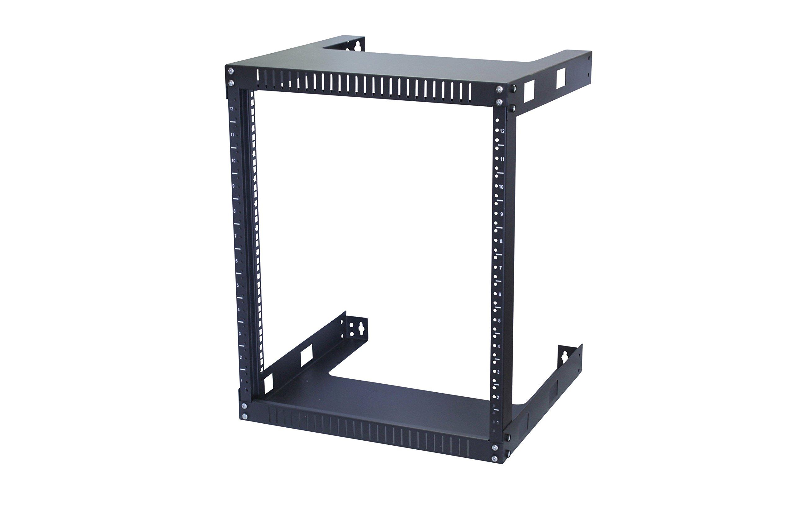 KENUCO 12U Wall Mount Open Frame Steel Network Equipment Rack 17.75 Inch Deep by KENUCO
