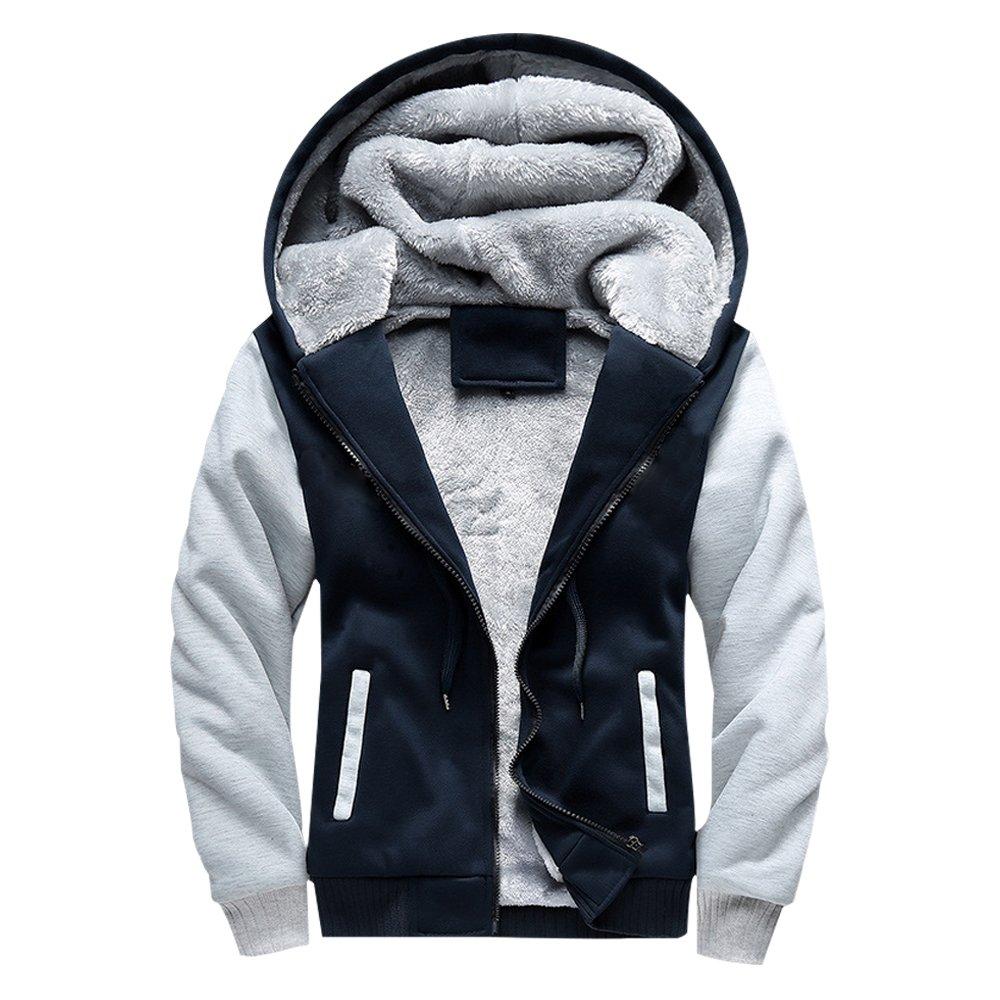 ASALI Men's Pullover Winter Jackets Hooed Fleece Hoodies Sweatshirt Wool Warm Thick Coats Navy M#02