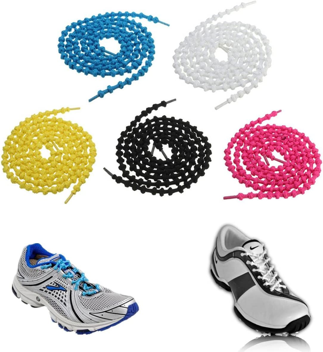 Cordones elásticos CAMTOA triatlón Zapatillas Running Unisex zapatos cordones cuerdas todas las estaciones con anti-Loose nodos de bloqueo Negro negro: Amazon.es: Deportes y aire libre
