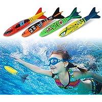 Tbest Juguetes de Piscina 4Pcs/Set Diving Pool Summer Game Juego de Buceo en el Agua Juguetes de Buceo Diversión bajo el Agua para Entrenamiento de natación