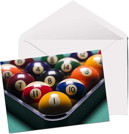 Bolas de billar – Tarjeta de felicitación en blanco de tamaño A5 ...