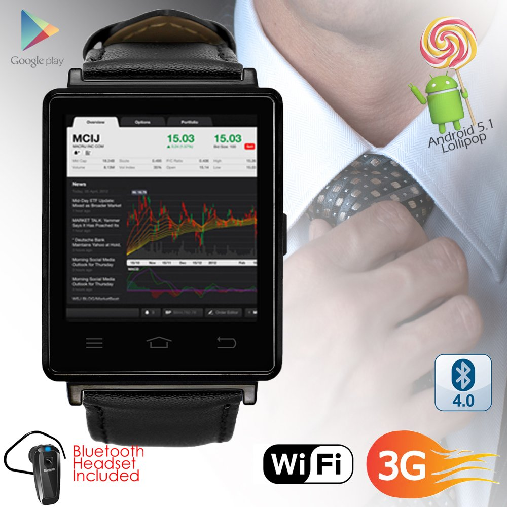 Indigi NEW 2017 3G GSM Unlocked SmartWatch & Phone + WiFi + GPS + Bluetooth 4.0 + Heart Rate Monitor + Bluetooth Included by inDigi (Image #2)