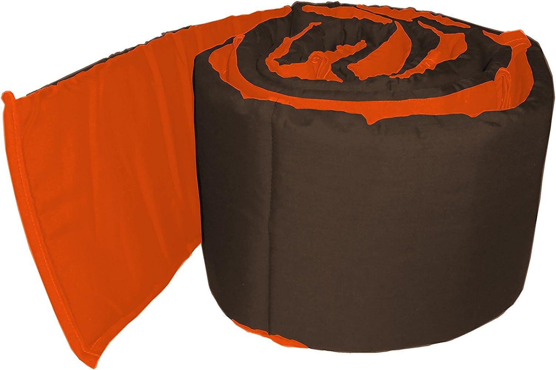 BabyDoll Solid Reversible Crib Bumper Brown//Orange