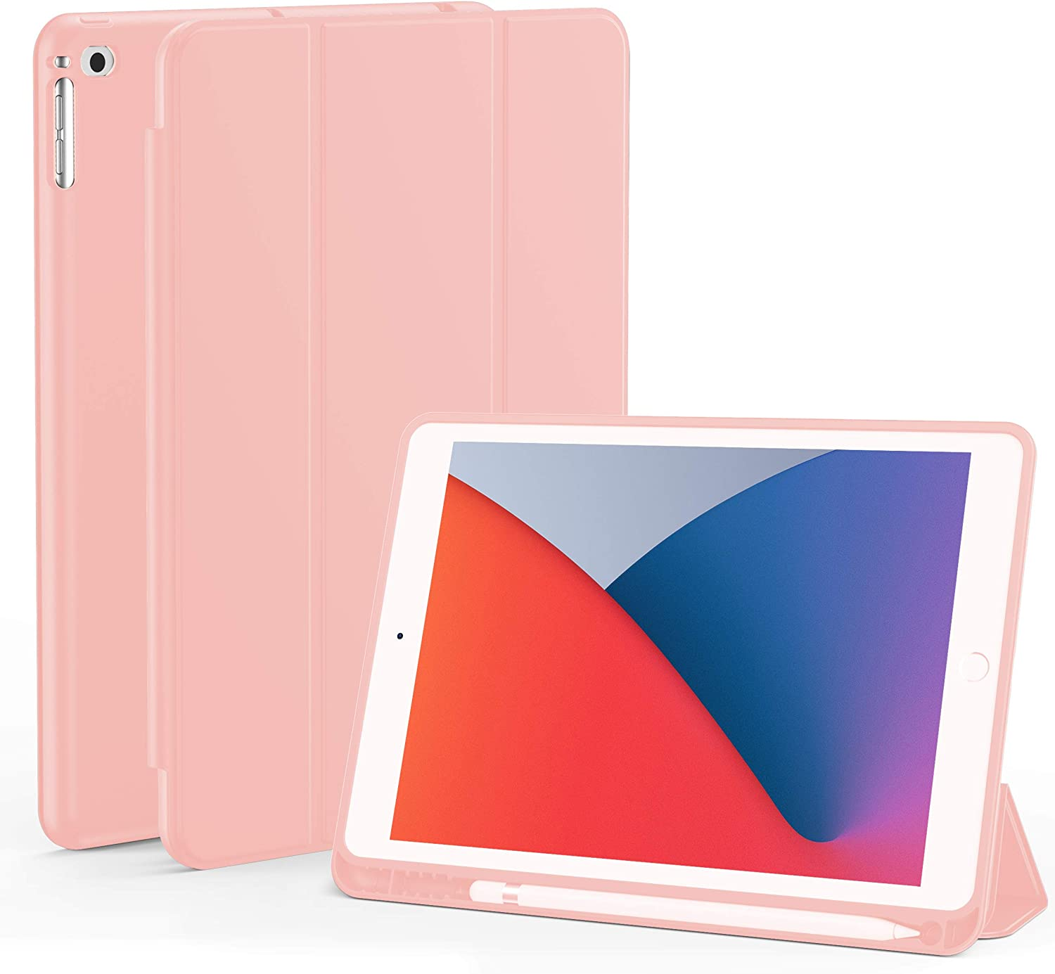 iPad 9.7 (2018 & 2017) / iPad Air 2 / iPad Air Case, Slim Stand Protective Folio Case Smart Cover with Pencil Holder for iPad 9.7 Inch 5th/6th Generation, Also Fit iPad Air 2 / iPad Air (Pink)