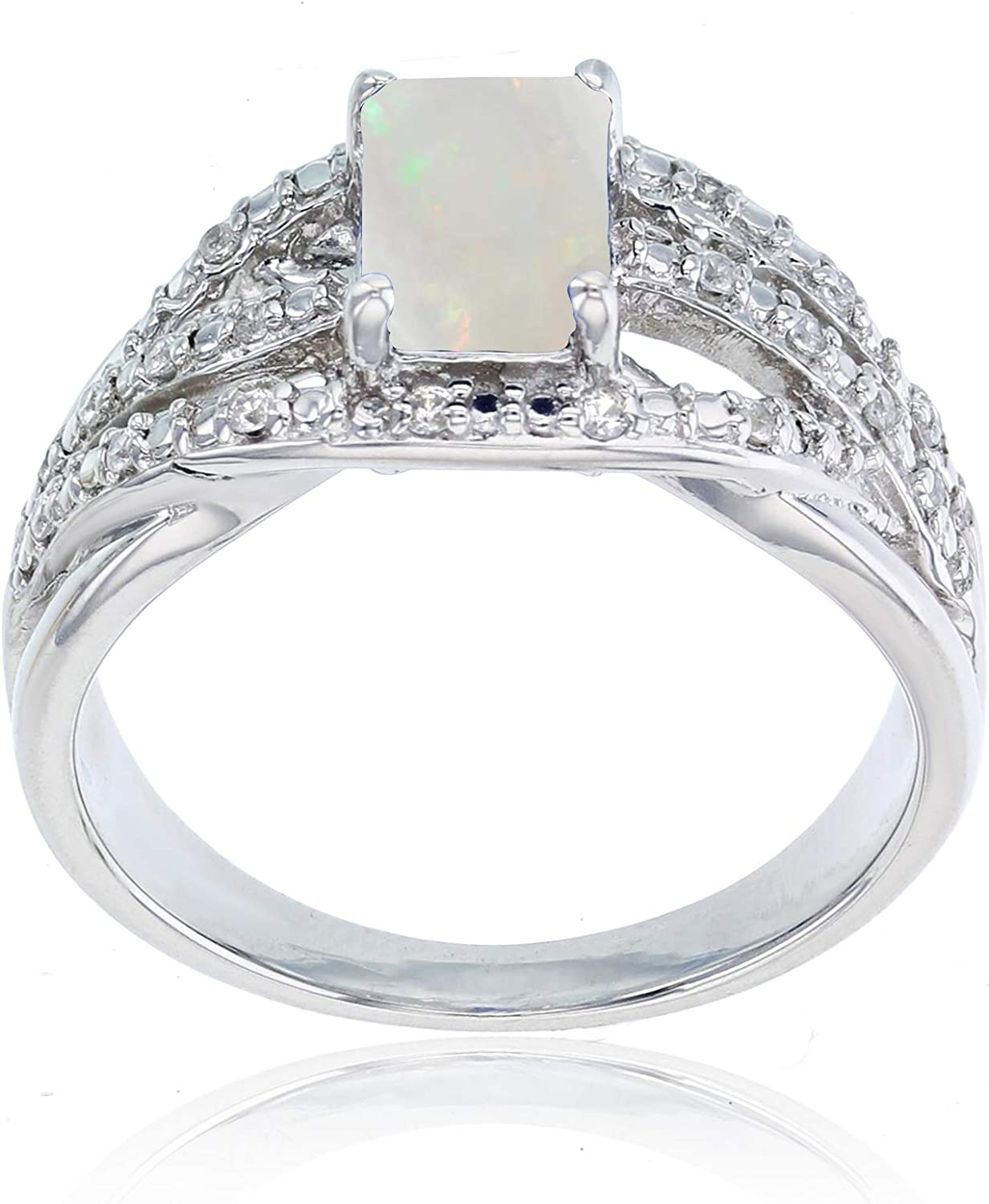 Sterling Silver Rhodium 1mm Created White Sapphire /& 7x5mm Octagon Rose De France Ring