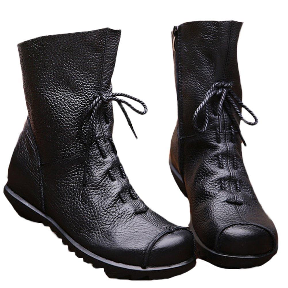 Vogstyle Damen Stiefel Weiches Leder Stiefeletten Warm Gefüttert Art 1 Grau Fleece EU37/CH38 TmHFsrSySX