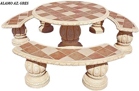 Conjunto Mesa Comedor Jardin DE Piedra Artificial con Fibra.Mesa Redonda + 3 Bancos .Alamo Ocre (GRESOCRE): Amazon.es: Hogar