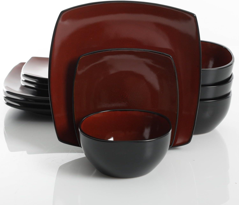 Gibson Elite Soho Lounge 12 Piece Dinnerware Set, Red
