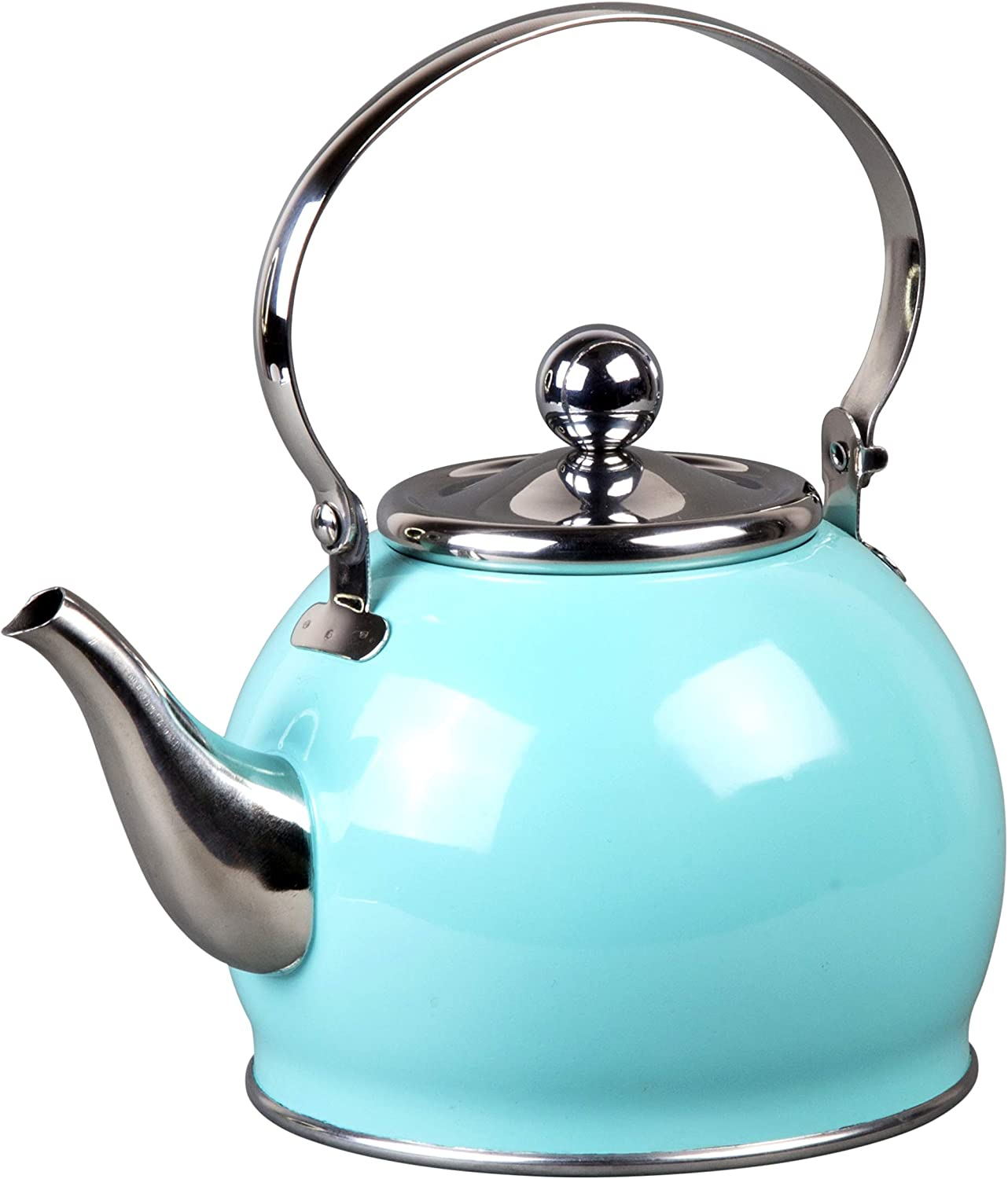 Creative Home Royal Stainless Steel Tea Kettle with Removable Infuser Basket, Folding Handle, 1.0 Quart, Aqua Sky Finish